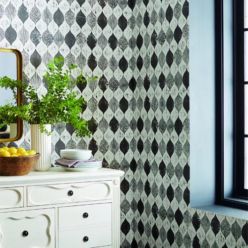 ME15656 York Wallcoverings Joanna Gaines Magnolia Home 2 Wood Block Print Wallpaper Room Setting