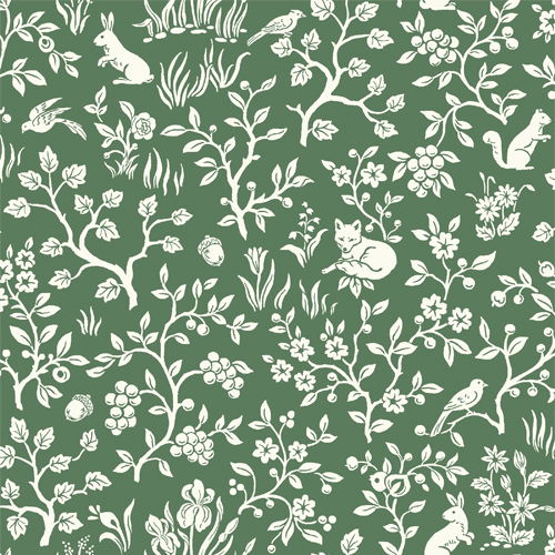 ME1573 York Wallcoverings Joanna Gaines Magnolia Home 2 Fox and Hare Wallpaper Green