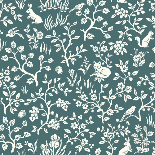 ME1574 York Wallcoverings Joanna Gaines Magnolia Home 2 Fox and Hare Wallpaper Blue
