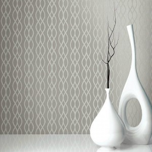 Seabrook Wallcoverings Texture Anthology Etten Ogee Stripe Wallpaper Room Setting