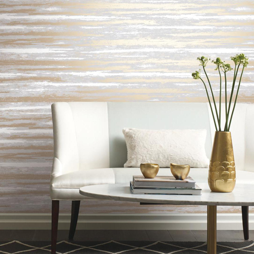 York Wallcovering Antonina Vella Modern Metals Atmosphere Wallpaper Room Setting