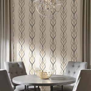 York Wallcovering Antonina Vella Modern Metals Aurora Wallpaper Room Setting