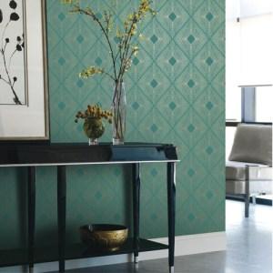 York Wallcovering Antonina Vella Modern Metals Harlowe Wallpaper Room Setting