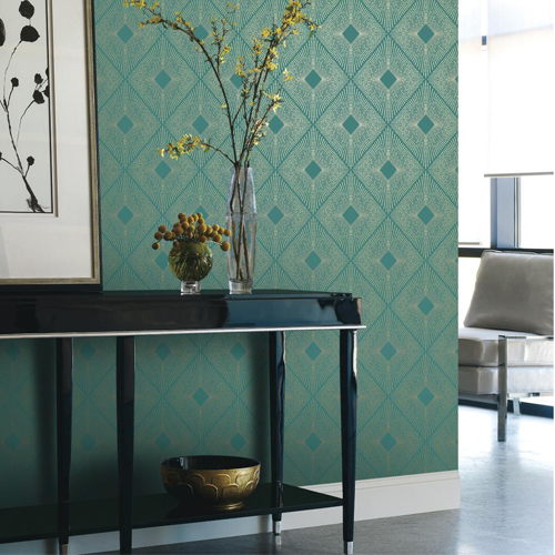 York Wallcovering Antonina Vella Modern Metals Harlowe Wallpaper Room Setting
