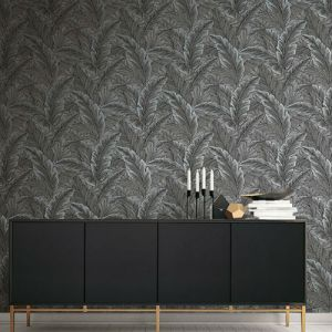 Seabrook Wallcoverings Pear Tree Studios Mica Ruffled Palm Wallpaper Room Setting
