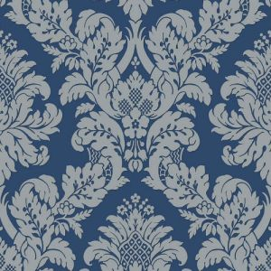 UK10457 Seabrook Wallcoverings Pear Tree Studios Mica Raised Glitter Damask Wallpaper Navy