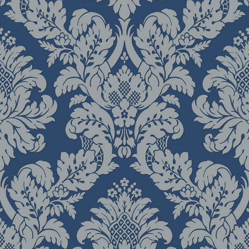 UK10457 Seabrook Wallcoverings Pear Tree Studios Mica Raised Glitter Damask Wallpaper Navy