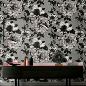Seabrook Wallcoverings Pear Tree Studios Mica Half Tone Floral Wallpaper Room Setting