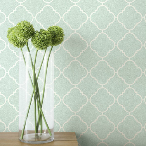 Seabrook Wallcoverings Pear Tree Studio Mica Dotted Ogee Wallpaper Room Setting