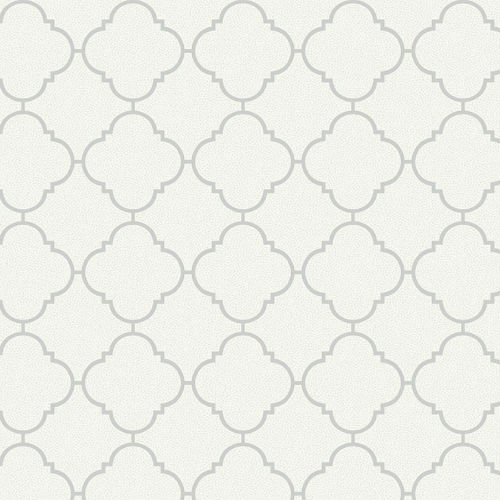UK11324 Seabrook Wallcoverings Pear Tree Studio Mica Dotted Ogee Wallpaper White