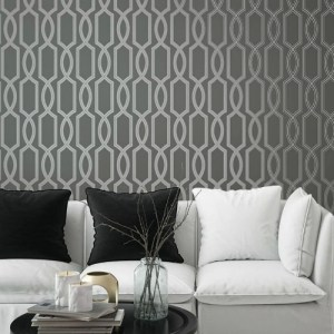 Seabrook Wallcoverings Pear Tree Studios Mica Glass Bead Trellis Wallpaper Room Setting