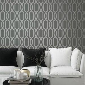 Seabrook Wallcoverings Pear Tree Studios Mica Glass Bead Trellis Wallpaper Room Setting