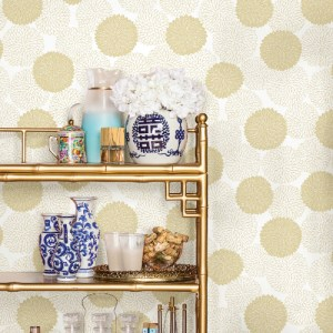 2764-24302 Brewster Wallcovering Mistral Blithe Floral Wallpaper Room Setting
