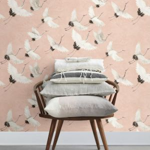 2764-24305 Brewster Wallcovering Mistral Windsong Crane Wallpaper Room Setting