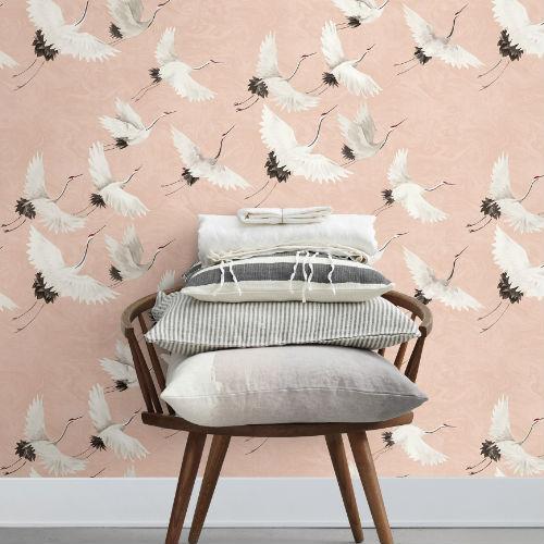 2764-24305 Brewster Wallcovering Mistral Windsong Crane Wallpaper Room Setting