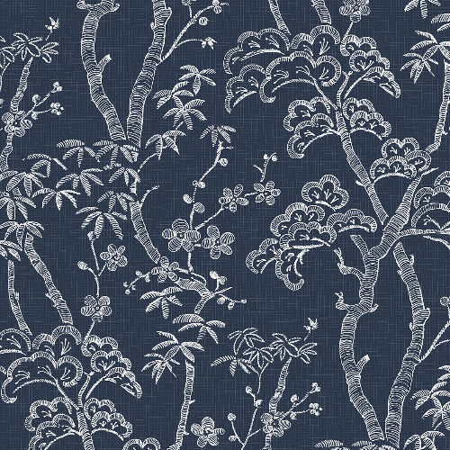 2764-24350 Brewster Wallcovering Mistral Bonsai Tree Wallpaper Navy