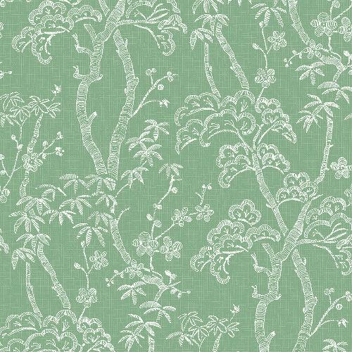 2764-24352 Brewster Wallcovering Mistral Bonsai Tree Wallpaper Green