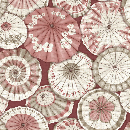 2764-24359 Brewster Wallcovering Mistral Mikado Parasol Wallpaper Red