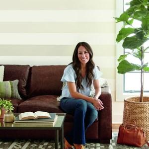 ME1580 York Wallcoverings Joanna Gaines Magnolia Home 2 Canvas Stripe Wallpaper Room Setting Horizontal