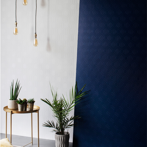 RD5671-RD5664 Brewster Wallcoverings Anaglypta XII Hex Geometric and Hive Geometric Paintable Wallpaper Room Setting