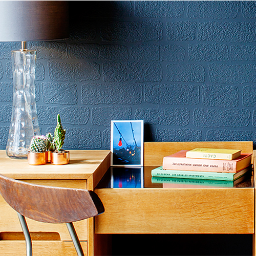 RD812 Brewster Wallcovering Anaglypta XII Lincolnshire Brick Paintable Wallpaper Room Setting