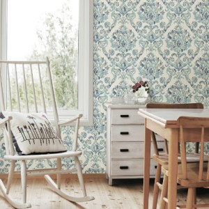 3117-12323 Brewster Wallcovering Chesapeake The Vineyard Shasta Damask Wallpaper Room Setting