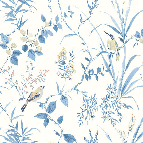 3117-24170 Brewster Wallcovering Chesapeake The Vineyard Imperial Garden Botanical Wallpaper Blue