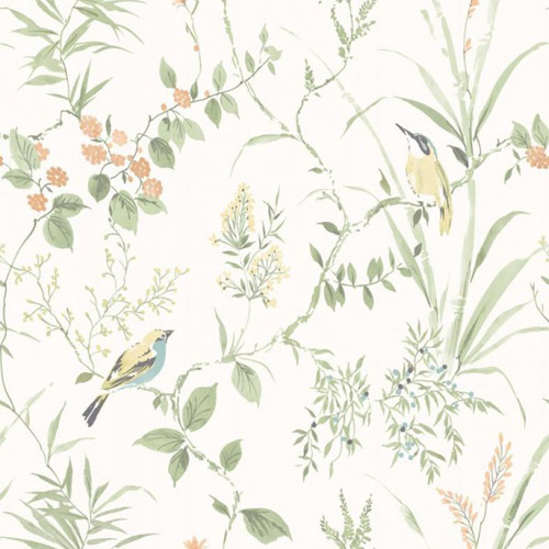 3117-24174 Brewster Wallcovering Chesapeake The Vineyard Imperial Garden Botanical Wallpaper Light Green