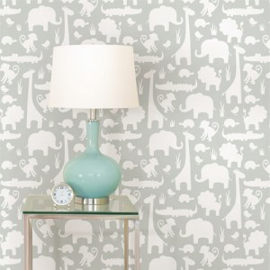 NUW1393 Brewster Wallcovering Wallpops NUWallpaper Grey Its A Jungle In Here Peel and Stick Wallpaper Room Setting