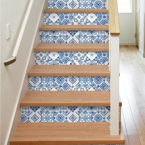 RMK11083WP York Wallcovering RoomMates Mediterranean Tile Peel and Stick Wallpaper Stairs