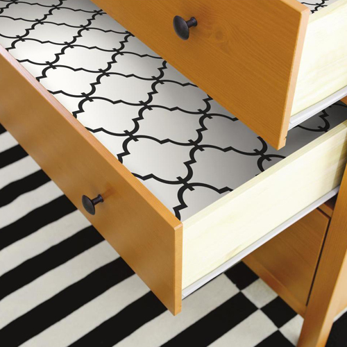 RMK9018WP Modern Trellis Peel and Stick Wallpaper Black Drawer Liner