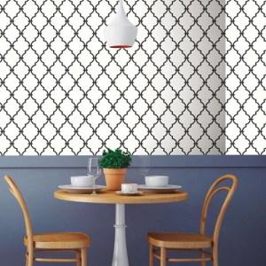 RMK9018WP Modern Trellis Peel and Stick Wallpaper Black Room Setting