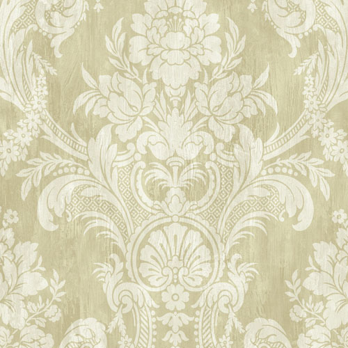BM60904 Wallquest Wallcovering Balmoral Classical Bouquet Damask Wallpaper White and Warm Gold