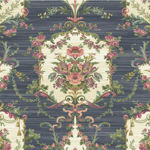 BM60002 Wallquest Wallcovering Balmoral Floral Cameo Wallpaper Navy