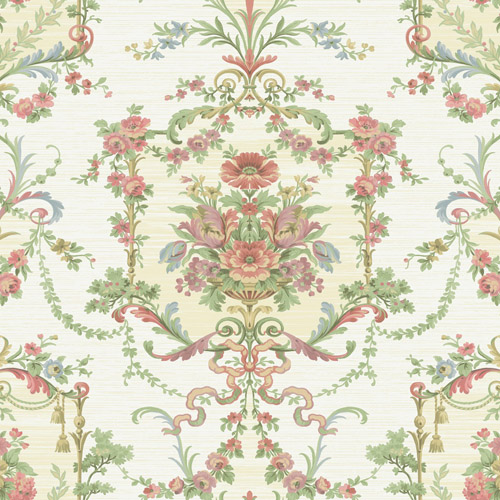 BM60007 Wallquest Wallcovering Balmoral Floral Cameo Wallpaper White