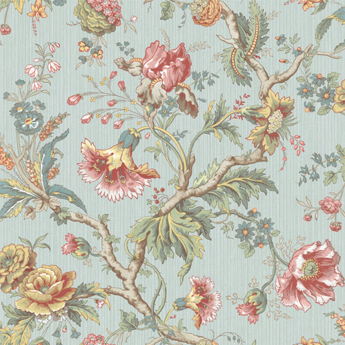 BM60402 Wallquest Wallcovering Balmoral Classical Jacobean Wallpaper Blue
