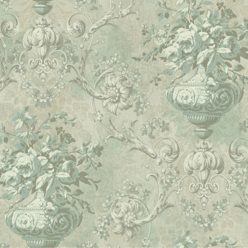 BM61004 Wallquest Wallcovering Balmoral Antiqued Framed Bouquet Wallpaper Tarnished Warm Green