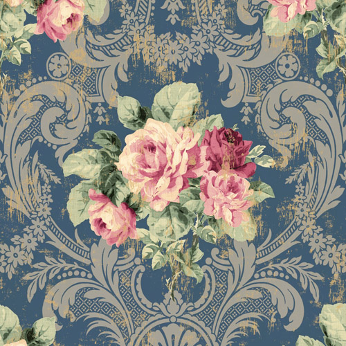 BM61102 Wallquest Wallcovering Balmoral Full Bloom Damask Wallpaper Navy