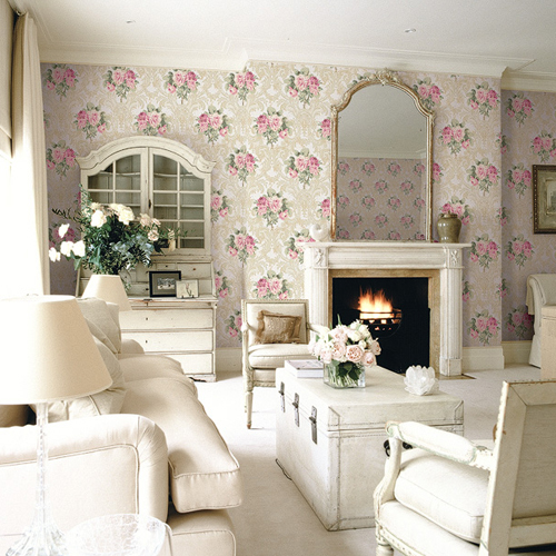 BM61109 Wallquest Wallcovering Balmoral Full Bloom Damask Wallpaper Purple Room Setting