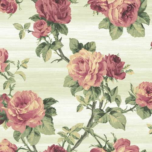 BM61212 Wallquest Wallcovering Balmoral Classical Rose Trail Wallpaper White Red