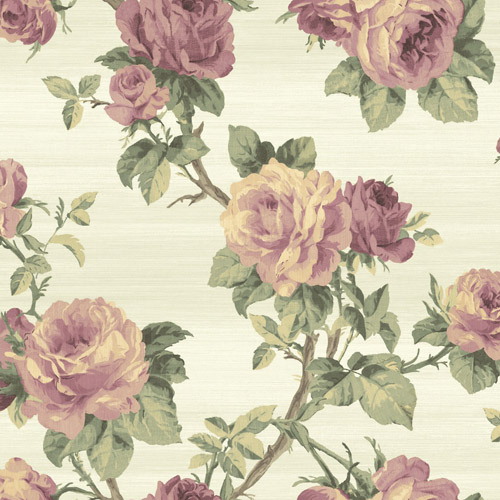 BM61219 Wallquest Wallcovering Balmoral Classical Rose Trail Wallpaper Off White Purple