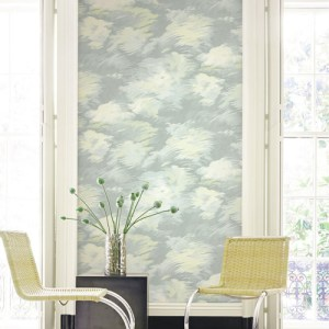 BM61412 Wallquest Wallcovering Balmoral Dreamy Faux Clouds Wallpaper Blue Room Setting