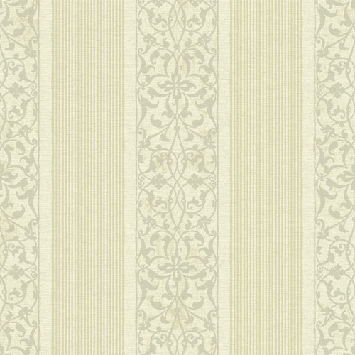 BM61703 Wallquest Wallcovering Balmoral Classically Decorated Stripe Wallpaper White Gold