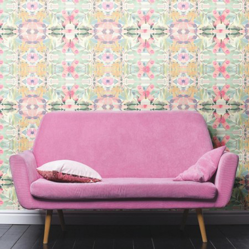 Synchronized Floral Pink Peel and Stick Wallpaper