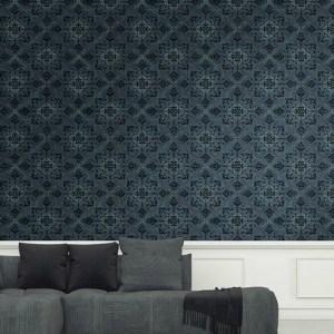 1730004 Seabrook Wallcovering Etten Gallerie Mercury Ironwork Harlequin Wallpaper Blue Room Setting