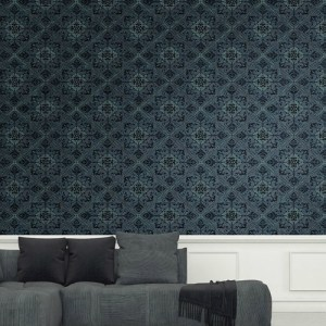 1730004 Seabrook Wallcovering Etten Gallerie Mercury Ironwork Harlequin Wallpaper Blue Room Setting