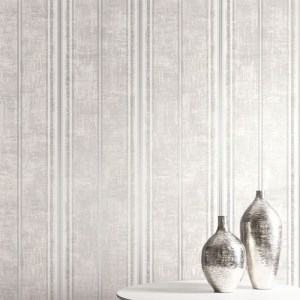 1730808 Seabrook Wallcovering Etten Gallerie Mercury Classic Faux Stripe Wallpaper Room Setting