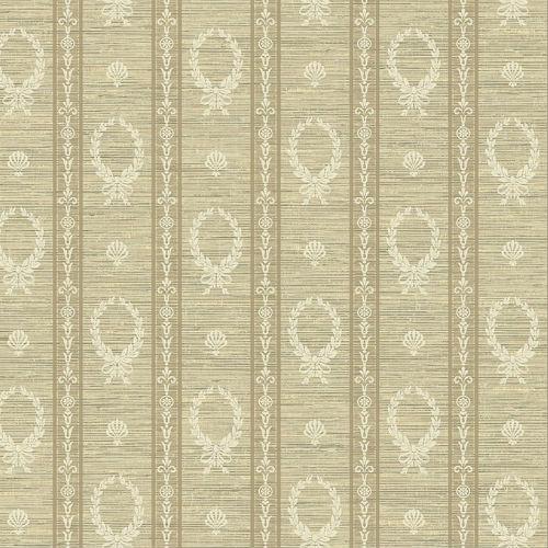 1730908 Seabrook Wallcovering Etten Gallerie Mercury Crest Stripe Wallpaper Tan