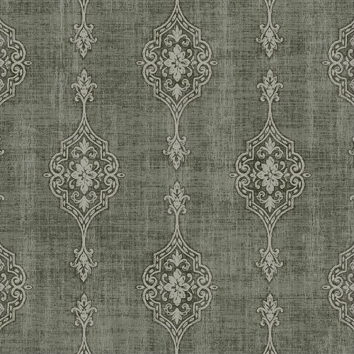 1731408 Seabrook Wallcovering Etten Gallerie Mercury Medallion Striped Wallpaper Black