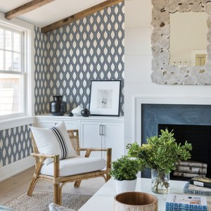 2782-24504 Brewster Wallcovering A Street Prints Habitat Honeycomb Geometric Wallpaper Navy Room Setting